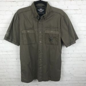 Harley-Davidson Men Shirt Green Logo Snap Front S
